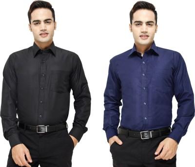 Yuva Men's Solid Formal Black, Dark Blue Shirt