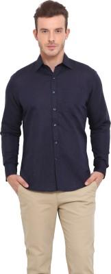 Ennoble Men's Solid Casual Linen Blue Shirt