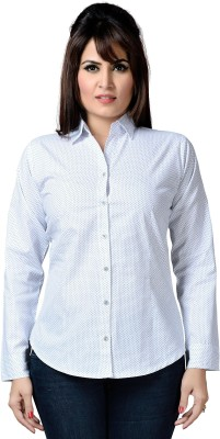 ALC Creations Women's Printed Formal White Shirt