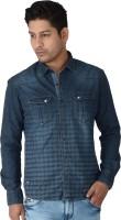 Killer Men's Wear - Killer Men's Checkered Casual Blue Shirt