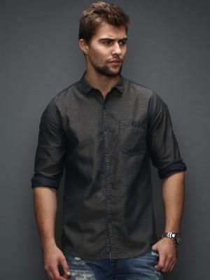 HRX by Hrithik Roshan Men's Self Design Casual Dark Blue Shirt