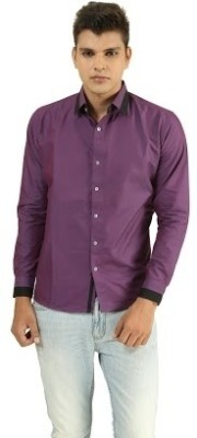 Frissk Men's Solid Casual Purple, Black Shirt