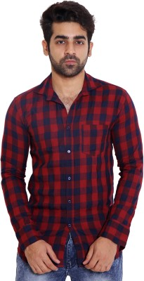 LIME TIME Men's Checkered Casual Red Shirt