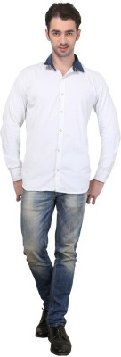 Custom Paid Men's Solid Casual White Shirt