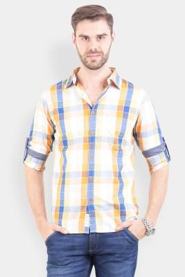 Crocodile Men's Checkered Casual Yellow Shirt