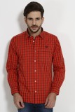 SIN Men's Checkered Casual Red Shirt