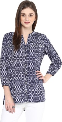 Color Cocktail Women's Printed Casual Blue Shirt