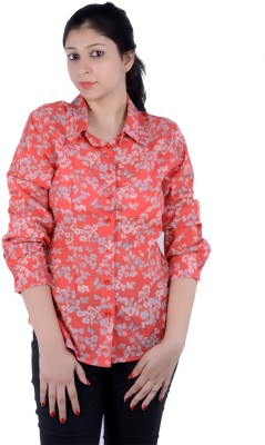 S9 Women's Printed Casual Orange, Multicolor Shirt