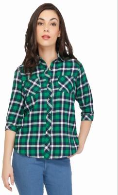 The Cotton Company Women's Checkered Casual Green Shirt