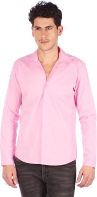 Neburu Men's Solid Casual Pink Shirt