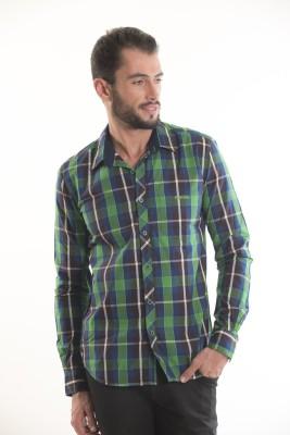 Kart & Kriss Men's Checkered Casual Blue, Green Shirt