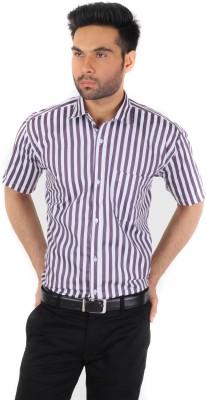 Spaky Men's Striped Formal Purple Shirt