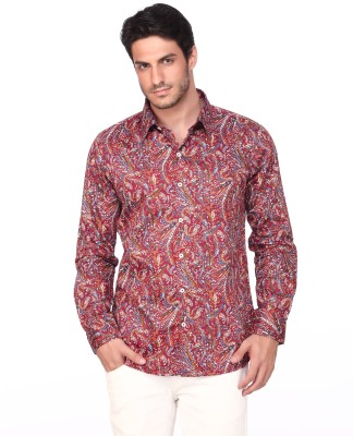 Fire & Ice Men's Printed Casual Maroon Shirt