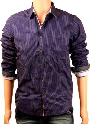 Skin It Men's Checkered Formal Blue Shirt