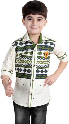 Ice Blue Boy's Floral Print Casual Green Shirt