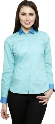 see Designs Women's Solid Casual Blue Shirt