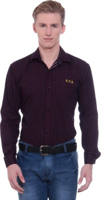 RPB Men's Checkered Formal Black, Maroon Shirt