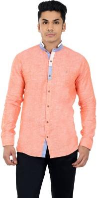Matchles Men,s Solid Casual Linen Orange Shirt