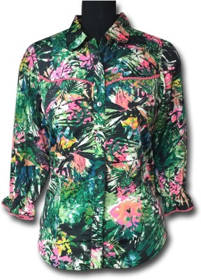 AC Women's Floral Print Casual Green, Pink Shirt
