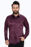 Big Brother Men's Solid Casual Maroon Sh...