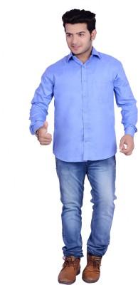 Buransh Men's Solid Formal Blue Shirt