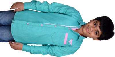 Kiaraa Boy's Solid Casual Light Blue Shirt