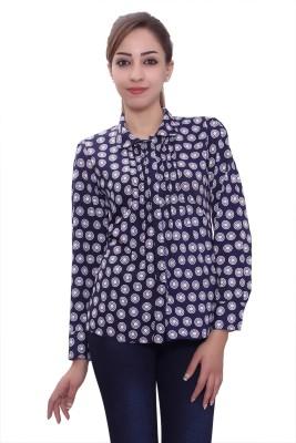 Tinge of Colors Women's Polka Print Formal Dark Blue Shirt