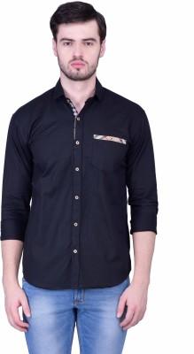 THE SHIRT FACTORY Men's Solid Casual Dark Blue Shirt