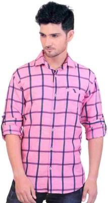 GoPlay Men's Checkered Casual Linen Pink Shirt