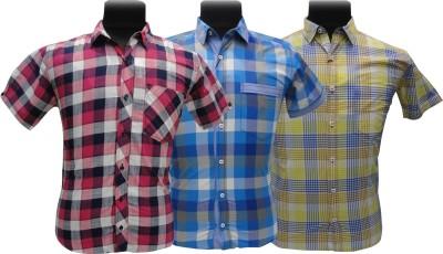 BK Black Men's Checkered Casual Yellow, Pink, Blue Shirt