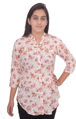 #Lets Selfie Women's Floral Print Casual White Shirt