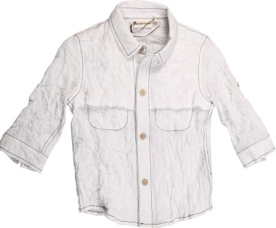 Brown Bows Boy's Solid Casual White Shirt