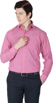 Robin Rider Men's Striped Casual Pink, Blue Shirt