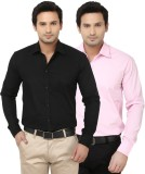 Alian Men's Solid Casual Black, Pink Shi...
