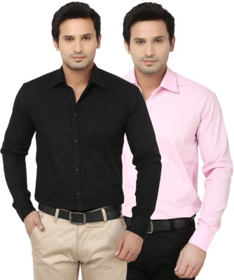 Alian Men's Solid Casual Black, Pink Shirt