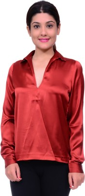 Lamora Women,s Solid Casual Red Shirt