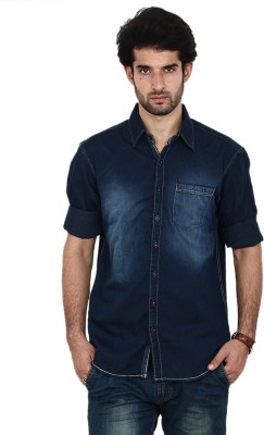 FRD13 Men's Solid Casual Denim Blue Shirt