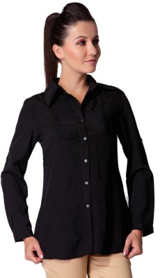 Trendy Divva Women's Self Design Casual Black Shirt at flipkart