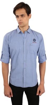 Eden Elliot Men's Striped Casual Grey, Blue Shirt