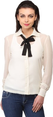 Ladybug Women's Solid Casual White Shirt