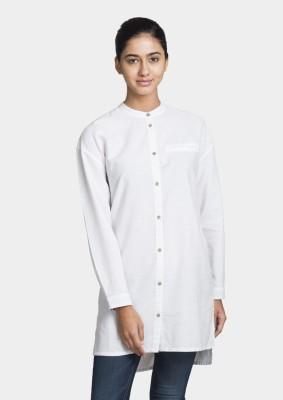 Bhane Women's Solid Casual White Shirt
