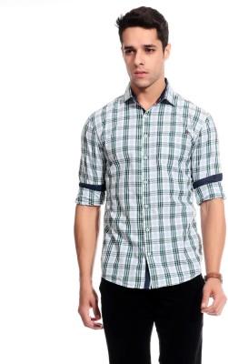 Goodkarma Men's Self Design Casual Green, White Shirt