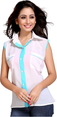 Niriksha Women's Solid Casual White Shirt
