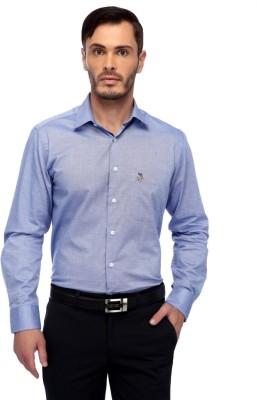 FRANK JEFFERSON Men's Solid Formal Blue Shirt