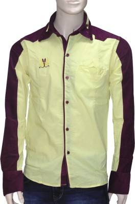 Exin Fashion Men's Self Design Casual Yellow, Maroon Shirt