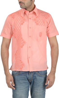 Sai Chikan Men's Embroidered Casual Pink Shirt