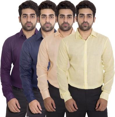 deekshavastra Men's Solid Casual Yellow Shirt