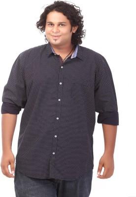 Ciroco Men's Polka Print Casual Blue Shirt