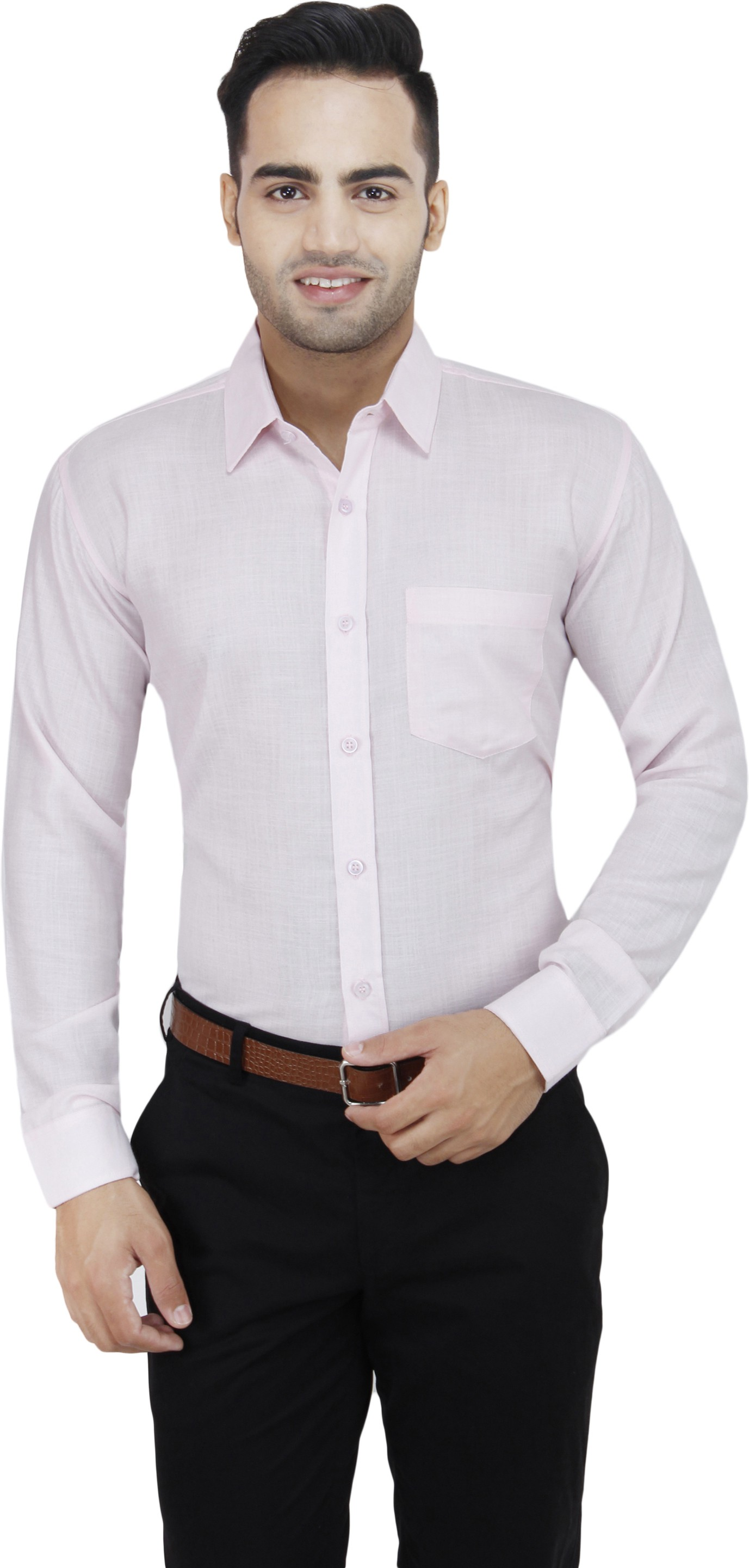 Leaf Men's Solid Formal Pink, White Shirt