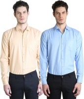 Ave Formal Shirts (Men's) - Ave Men's Solid Formal Light Blue, Yellow Shirt(Pack of 2)